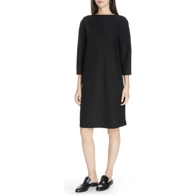 Petite Eileen Fisher Bateau Neck Shift Dress, Black