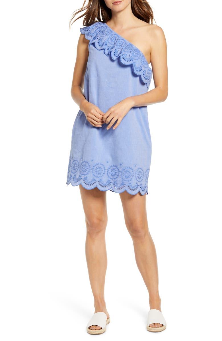 VINEYARD VINES One-Shoulder Cotton Eyelet Dress, Main, color, 400