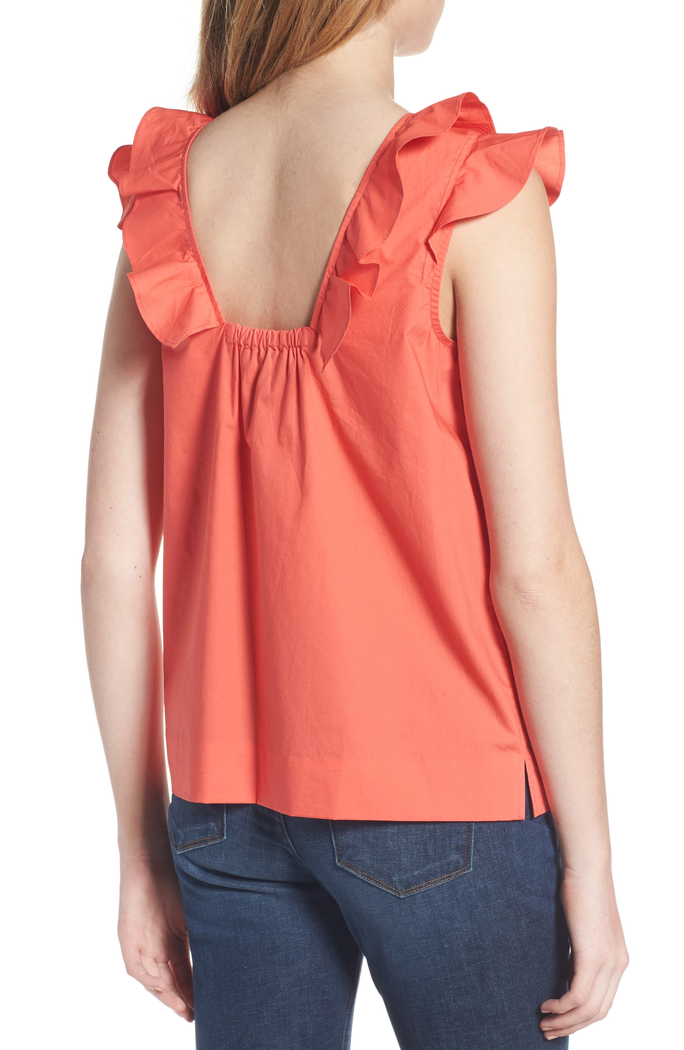 ,                             Ruffle Cotton Poplin Top,                             Alternate thumbnail 13, color,                             950