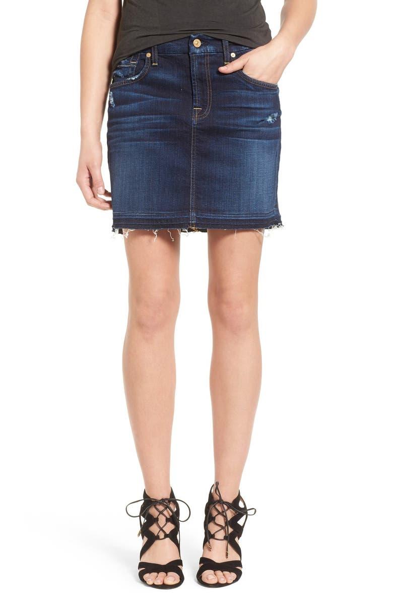 7 FOR ALL MANKIND<SUP>®</SUP> Released Hem Denim Skirt, Main, color, 400