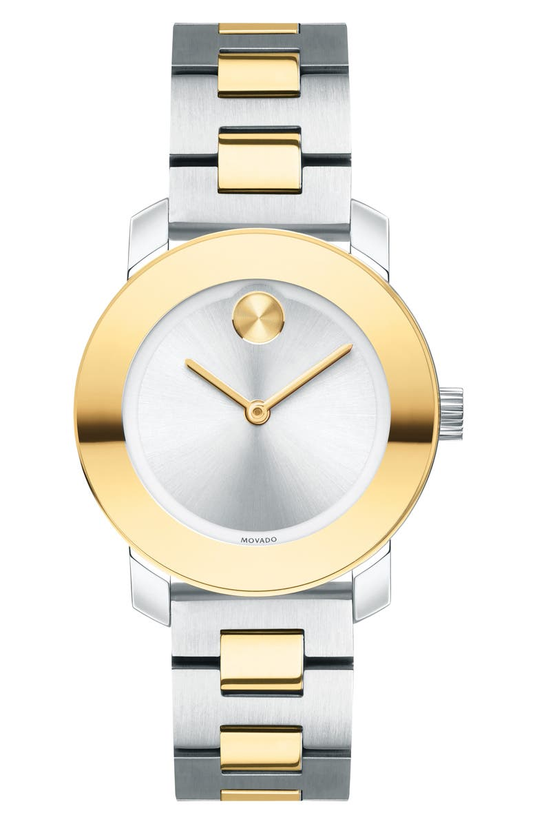 MOVADO Bold Iconic Two-Tone Bracelet Watch, 30mm, Main, color, GOLD/ SILVER