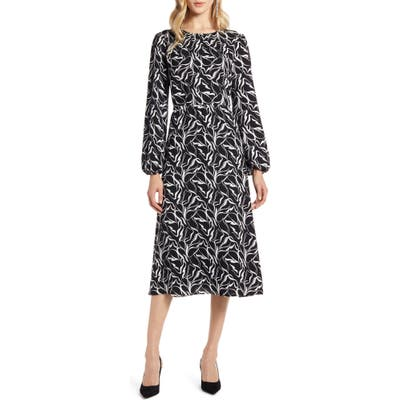 Petite Halogen Long Sleeve Dress, Black