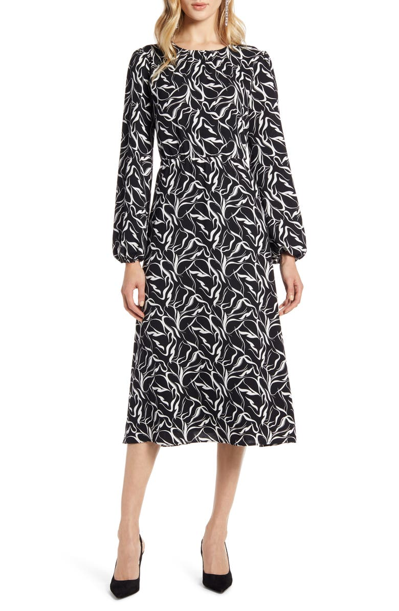 HALOGEN<SUP>®</SUP> Long Sleeve Midi Dress, Main, color, BLACK- IVORY STROKE PRINT