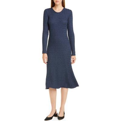 Mansur Gavriel Long Sleeve Cable Alpaca & Silk Sweater Dress, Blue