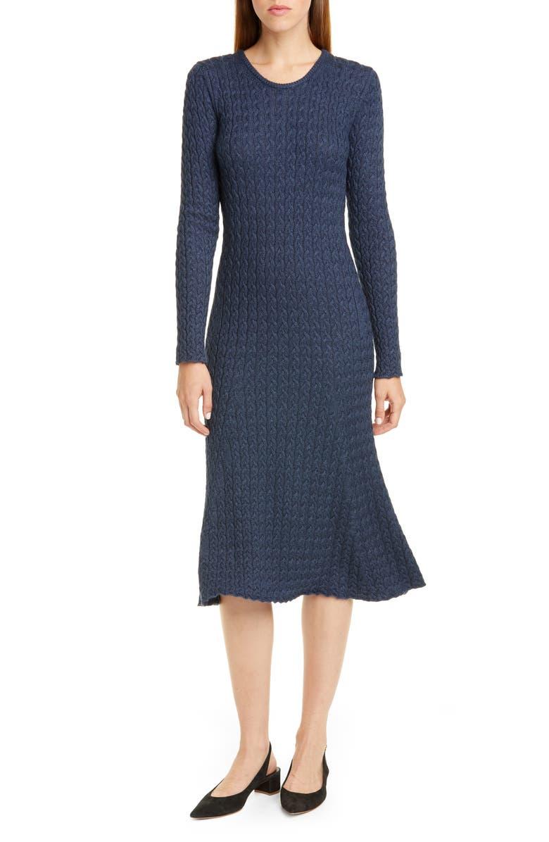 MANSUR GAVRIEL Long Sleeve Cable Alpaca & Silk Sweater Dress, Main, color, 400