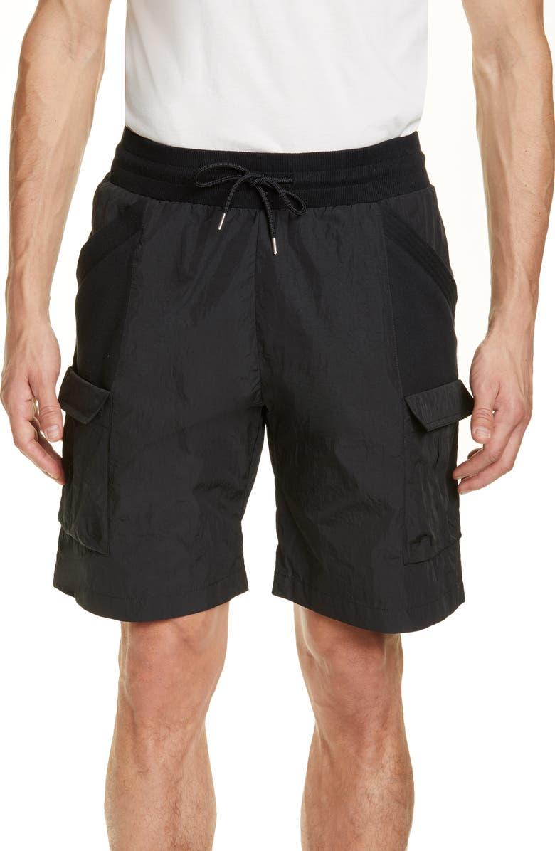 JOHN ELLIOTT Paneled Nylon Cargo Shorts, Main, color, BLACK