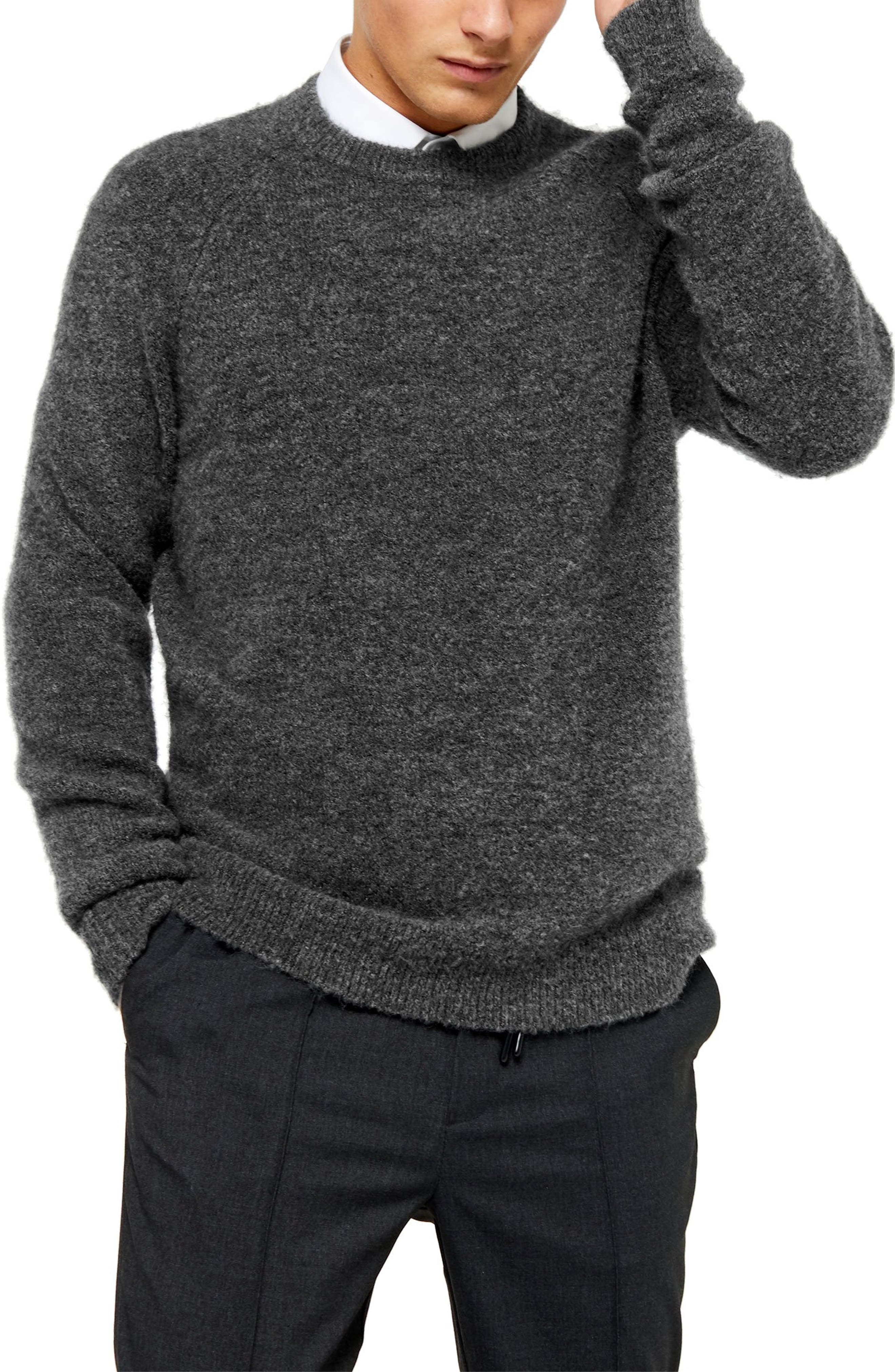 Men's Vintage Sweaters – 1920s to 1960s Retro Jumpers Mens Topman Harlow Classic Fit Solid Crewneck Sweater $55.00 AT vintagedancer.com