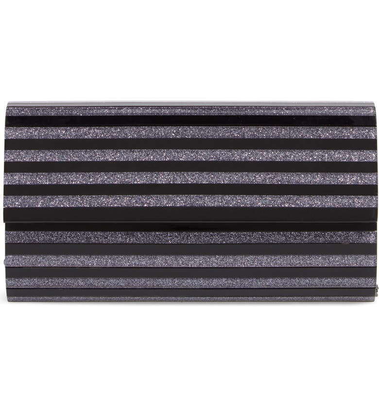 NORDSTROM Glitter Stripe Lucite<sup>®</sup> Clutch, Main, color, BLACK