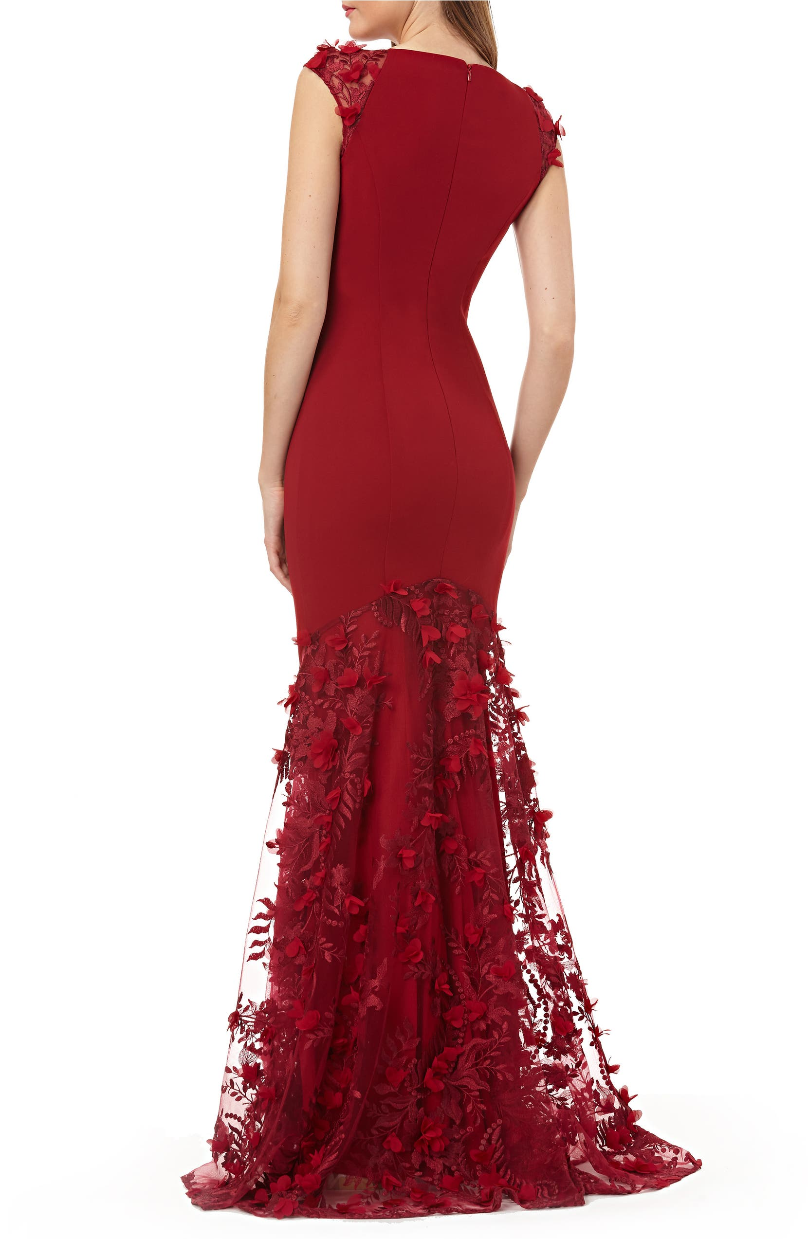 bcc5b86fd5fbe Carmen Marc Valvo Infusion 3D Floral Inset Gown   Nordstrom