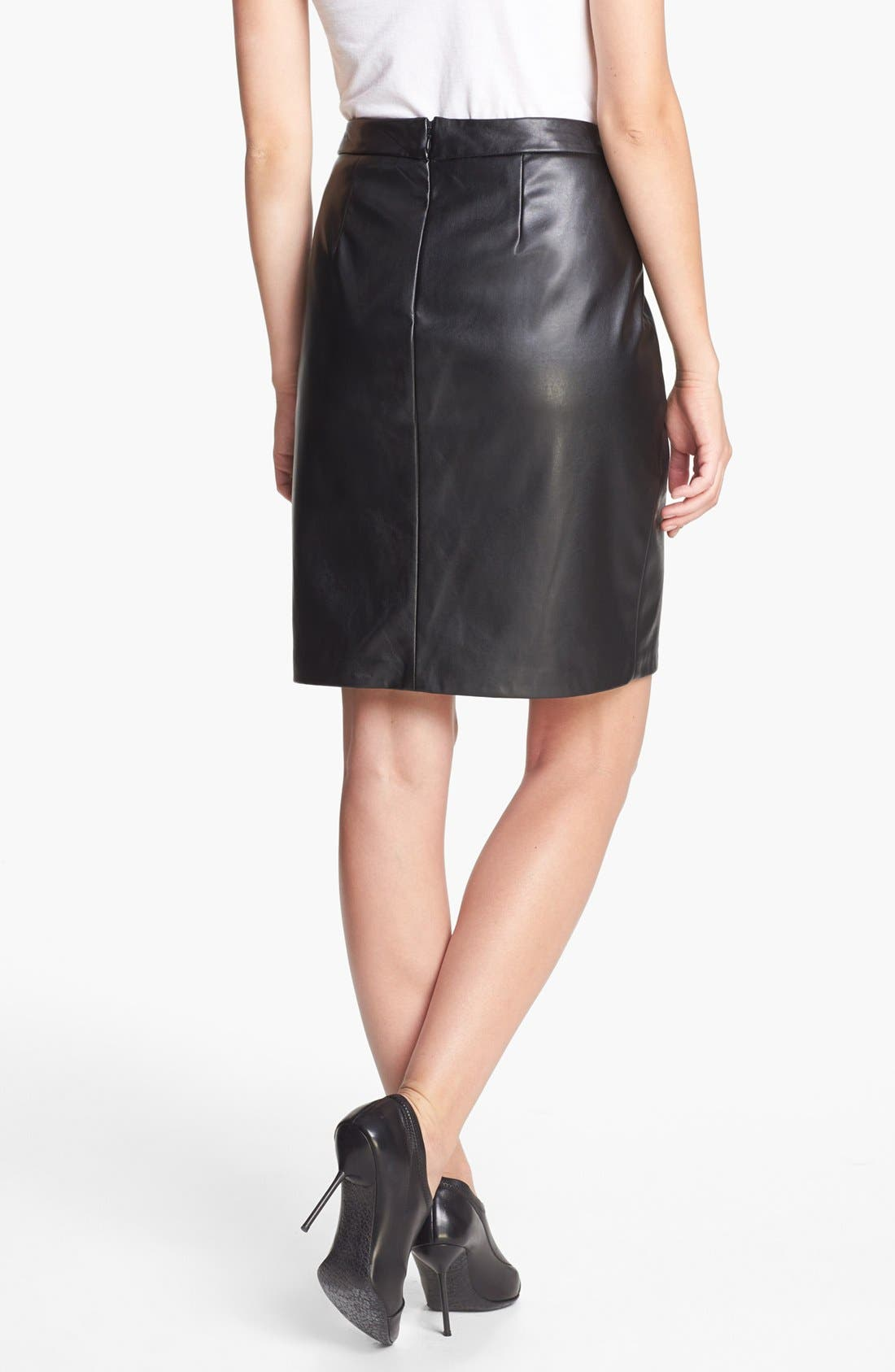 ,                             Faux Leather Skirt,                             Alternate thumbnail 3, color,                             001