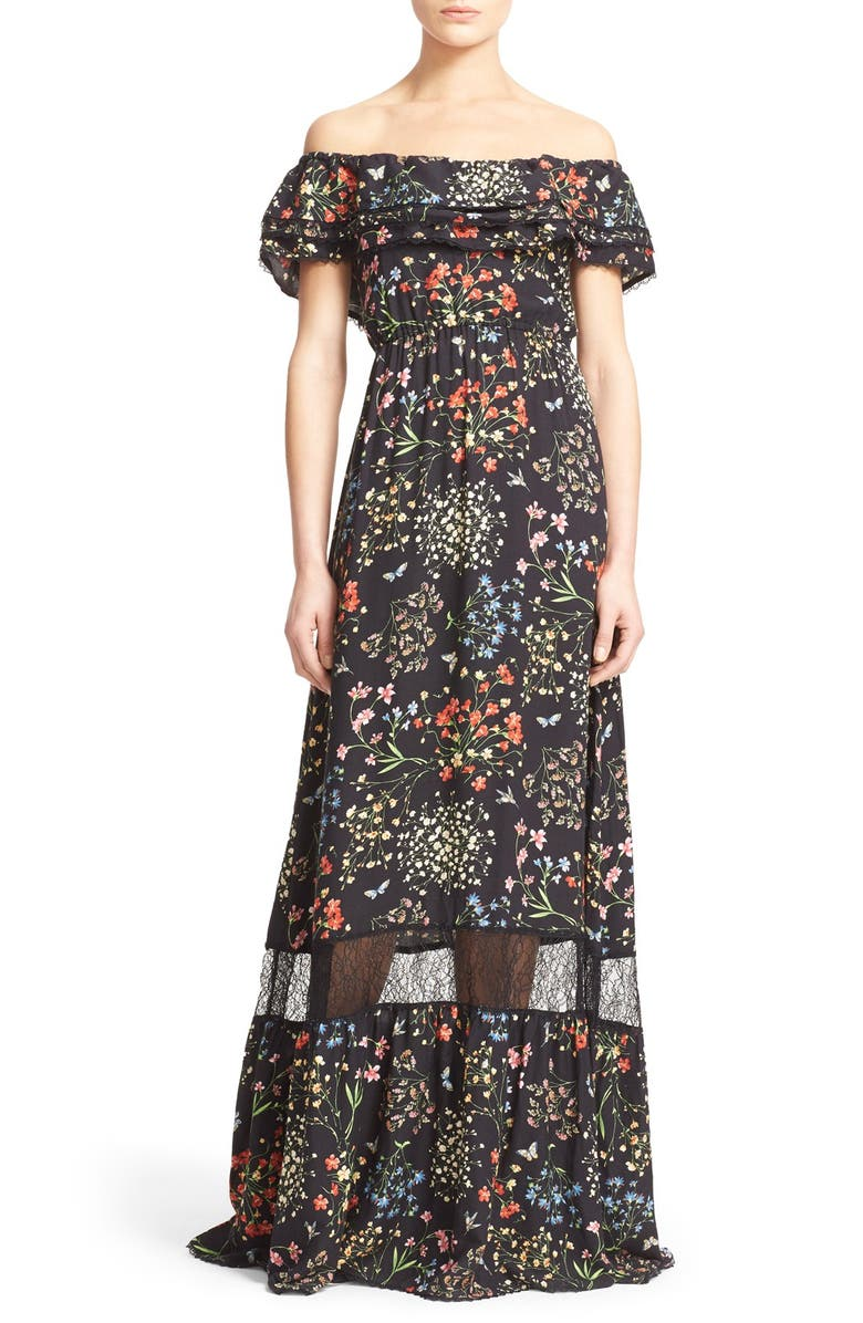 ALICE + OLIVIA 'Cheri' Floral Print Off the Shoulder Maxi Dress, Main, color, 002