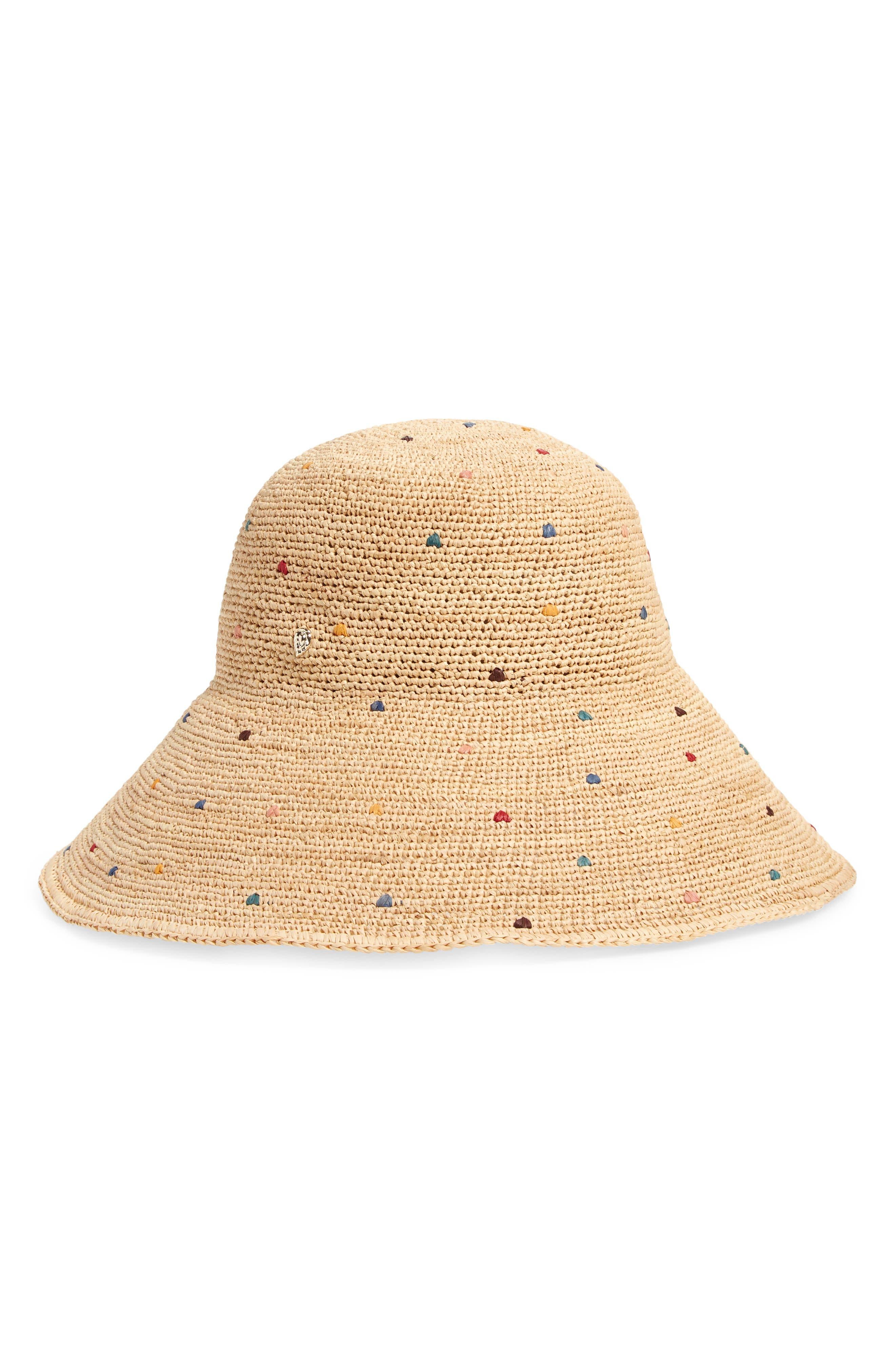 Rainbow Dot Wide Brim Raffia Hat
