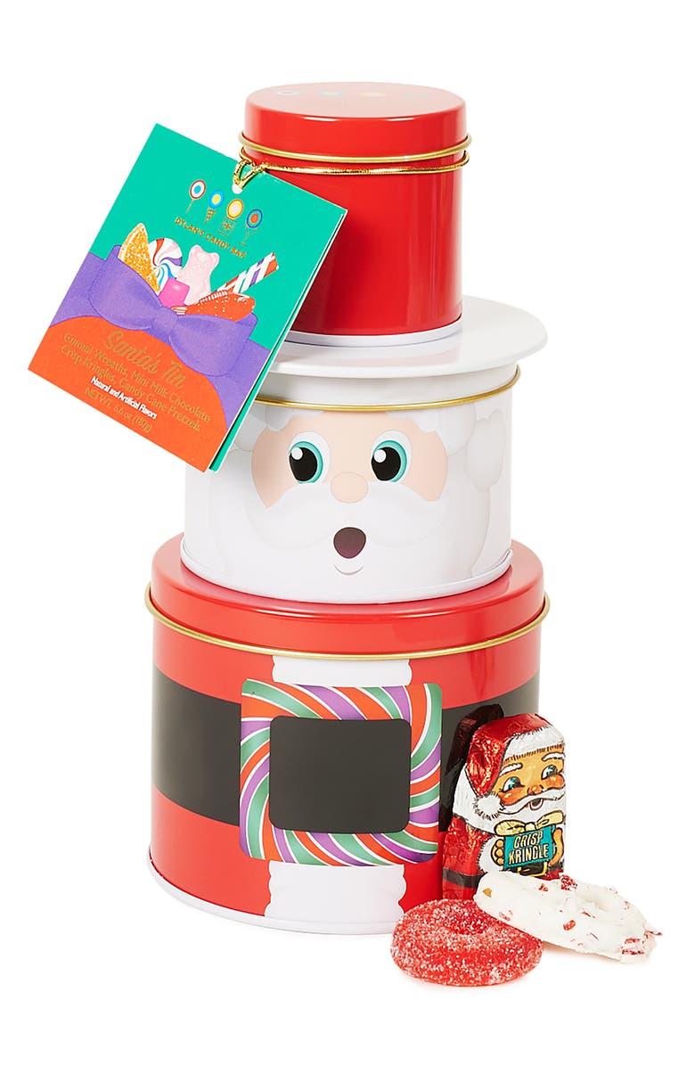 DYLAN'S CANDY BAR Santa Candy Tin, Main, color, RED