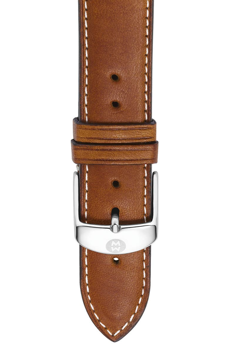 MICHELE 20mm Extra Long Leather Watch Strap, Main, color, SADDLE