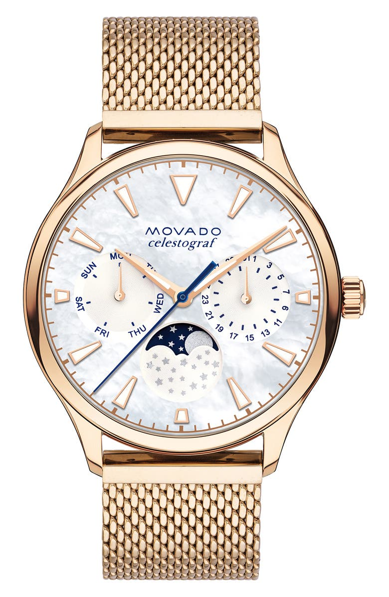 MOVADO Heritage Multifunction Mesh Band Watch, 36mm, Main, color, ROSE GOLD/ MOP/ ROSE GOLD