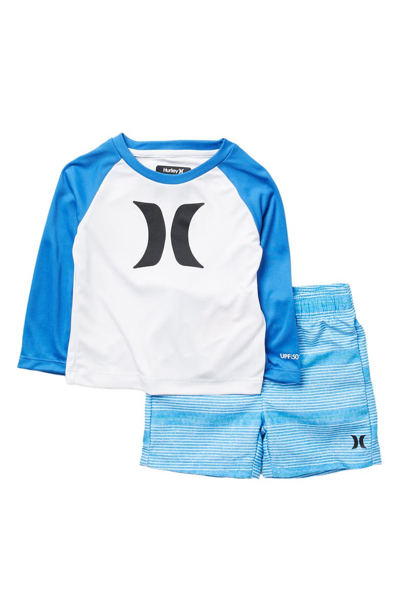 HURLEY DRI-Fit UV Protection Icon Rash Guard Set, Main, color, POOL BLUE