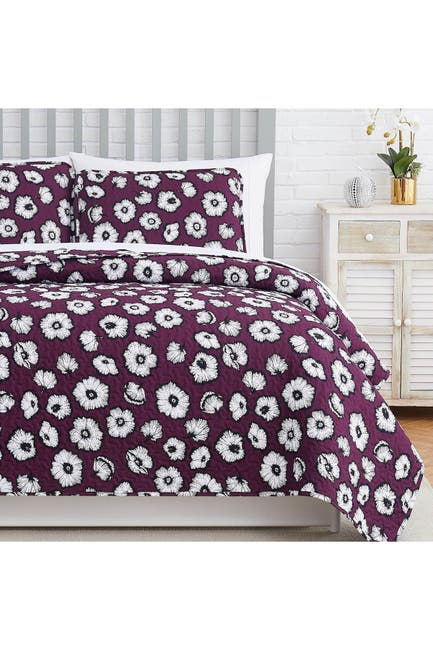 Image of SOUTHSHORE FINE LINENS Essence Oversized Quilt Cover Set - Purple - Full/Queen