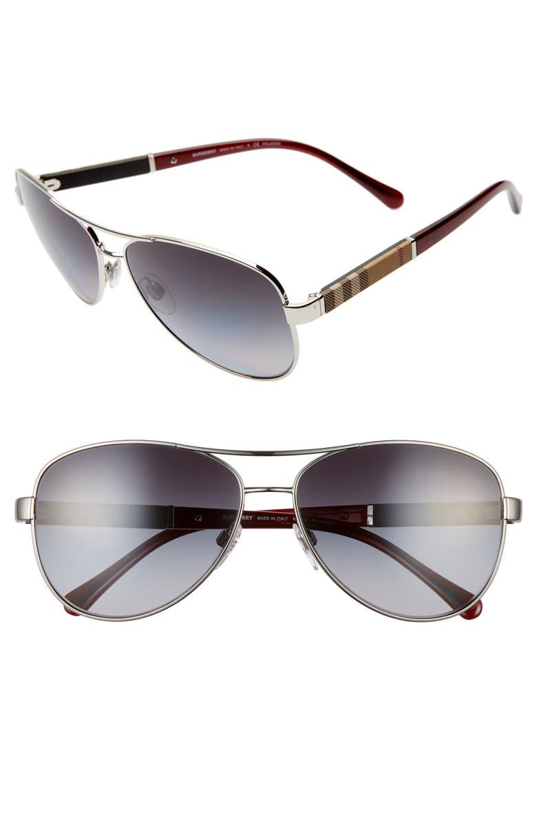 BURBERRY 'London Check' 59mm Metal Aviator Polarized Sunglasses, Main, color, BLACK/ GREY GRADIENT
