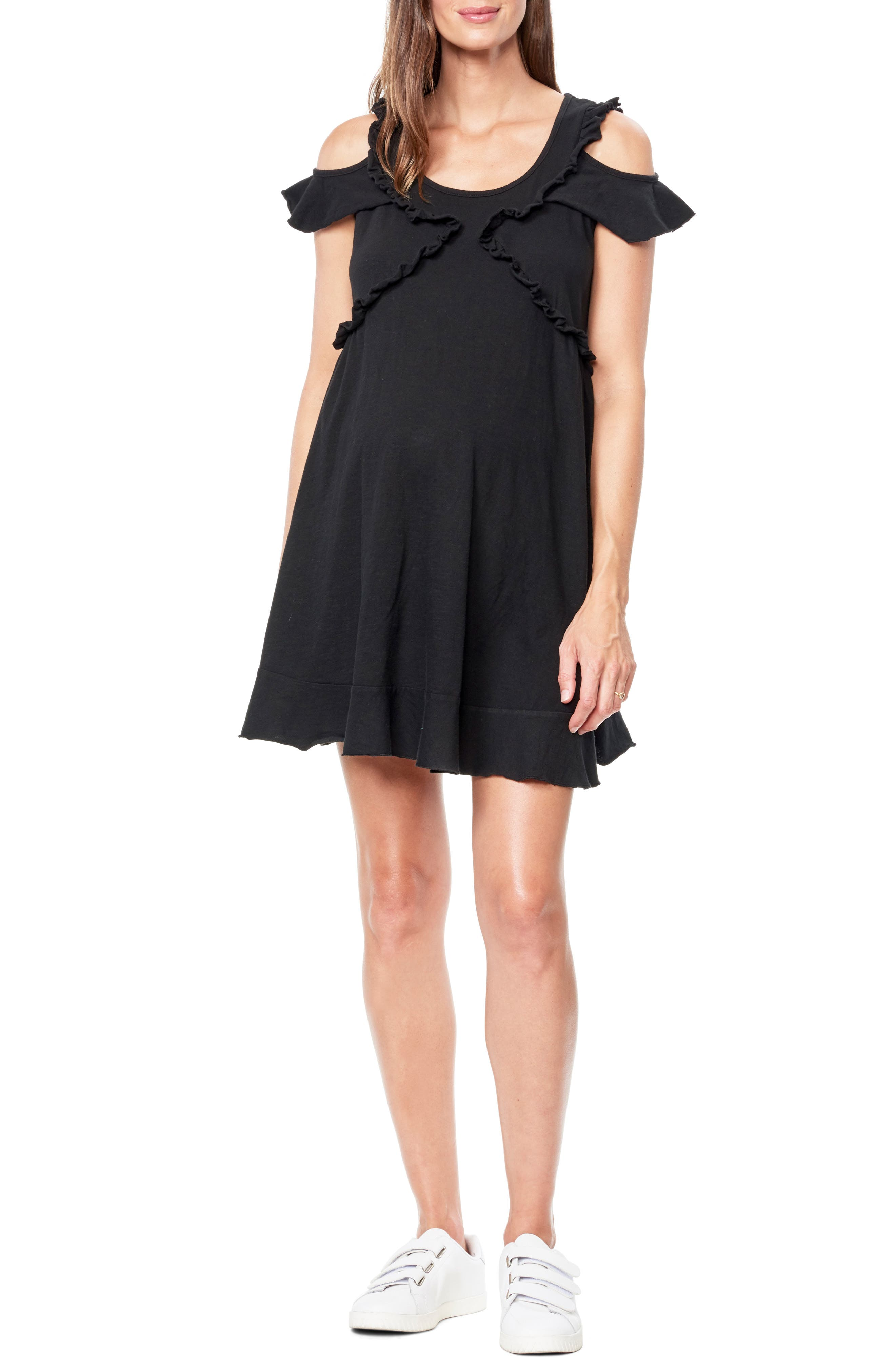 Maternal America Cold Shoulder Babydoll Maternity Dress, Black