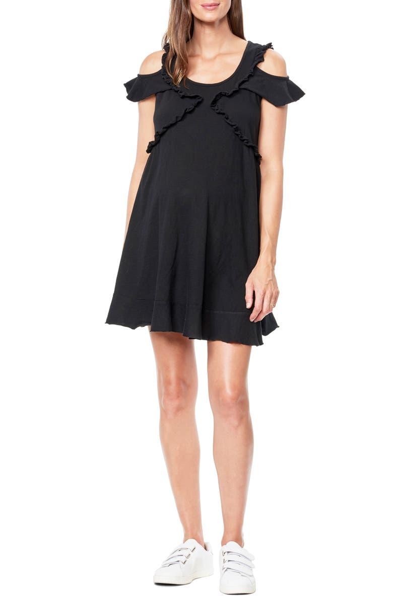 MATERNAL AMERICA Cold Shoulder Babydoll Maternity Dress, Main, color, BLACK