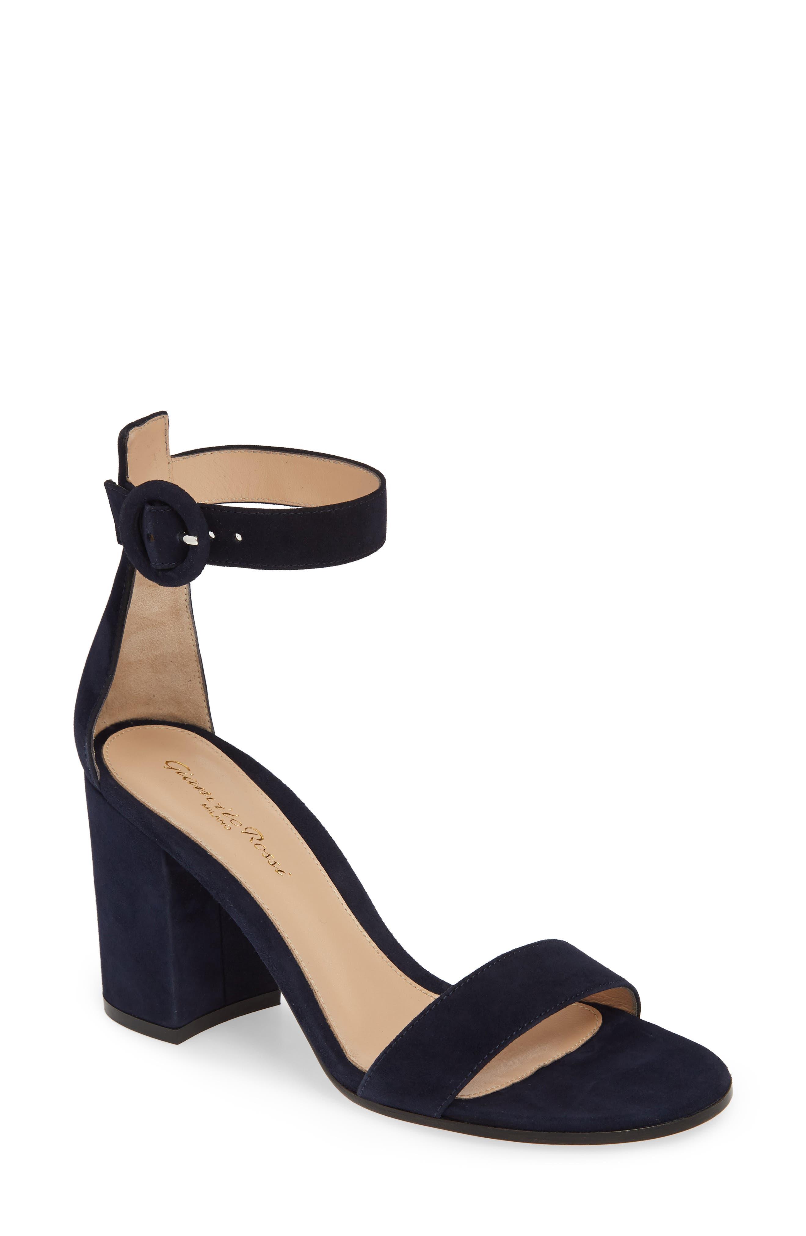 Block Heel Sandal, Main, color, DENIM BLUE SUEDE