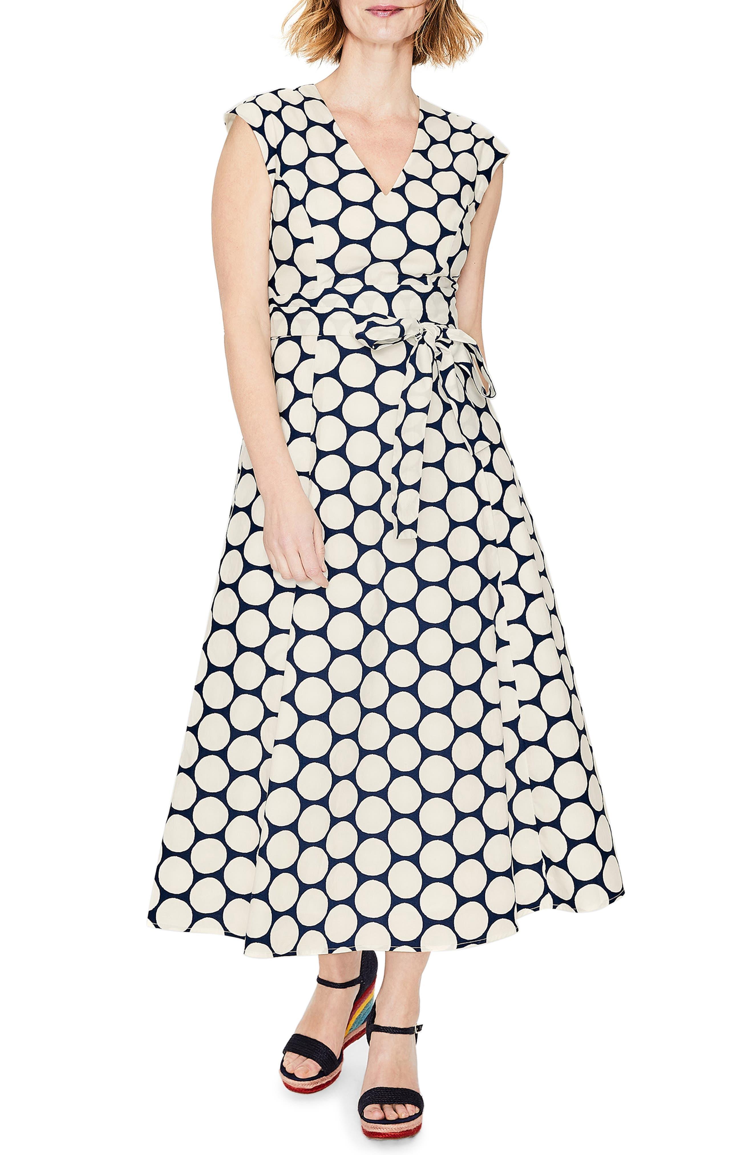 women's boden tori midi dress, size 4 - blue