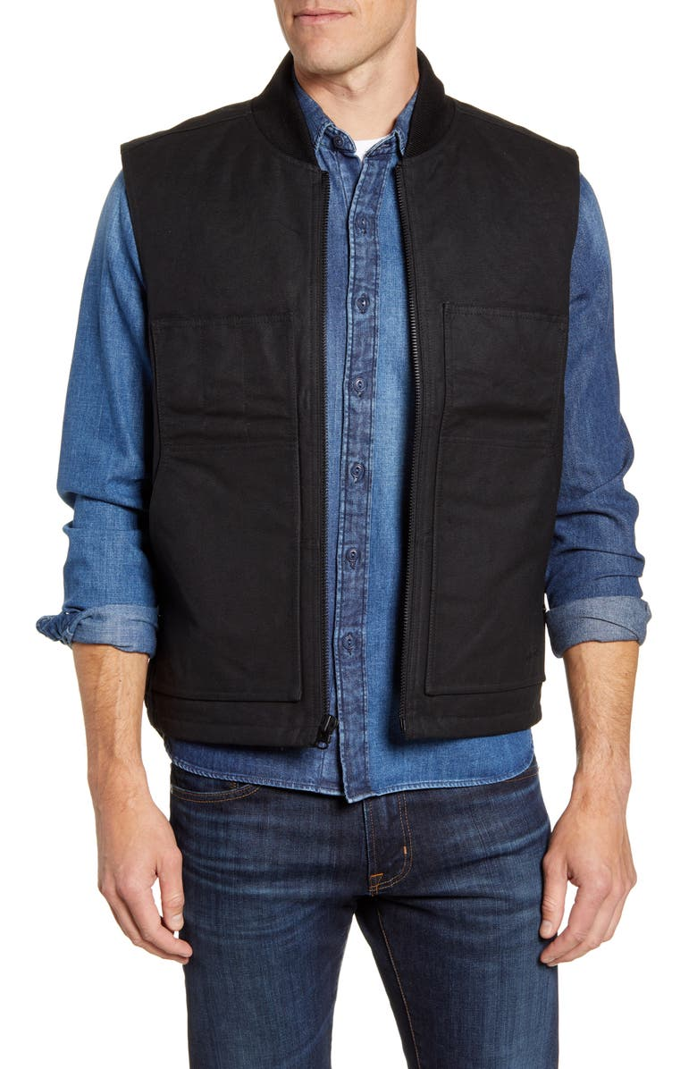 FILSON Waxed Work Vest, Main, color, FADED BLACK