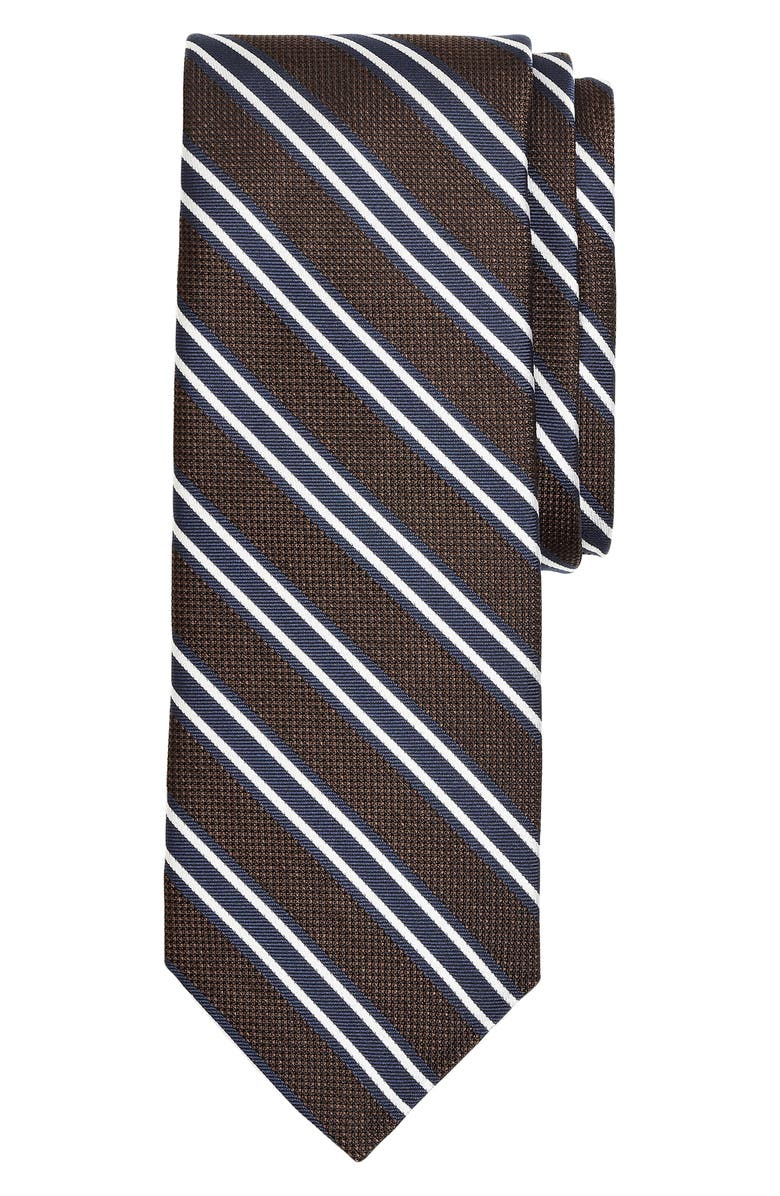 BROOKS BROTHERS Stripe Silk Tie, Main, color, BROWN