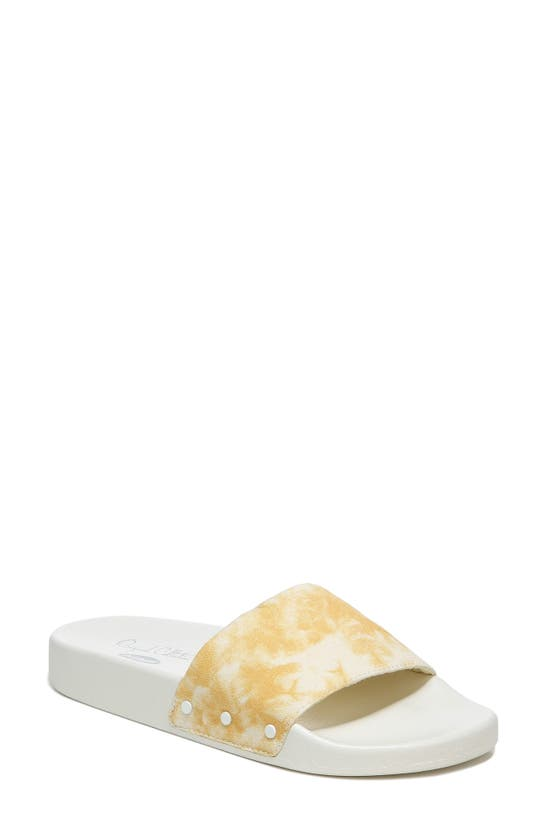 Dr. Scholl's Pisces Slide Sandal In Gold Yellow Tie Dye Fabric