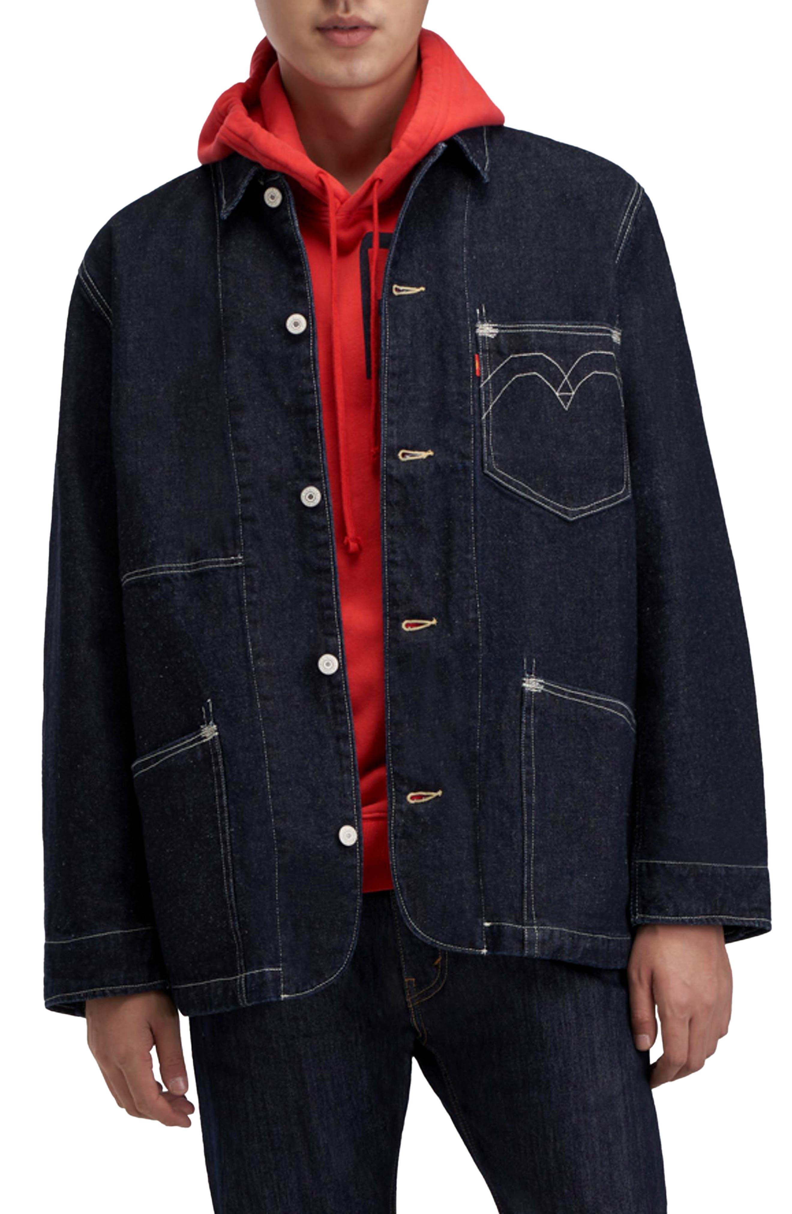 1900s Edwardian Men's Suits and Coats Mens Levis Red Label Engineered Cotton  Hemp Denim Jacket Size Small - Blue $130.00 AT vintagedancer.com