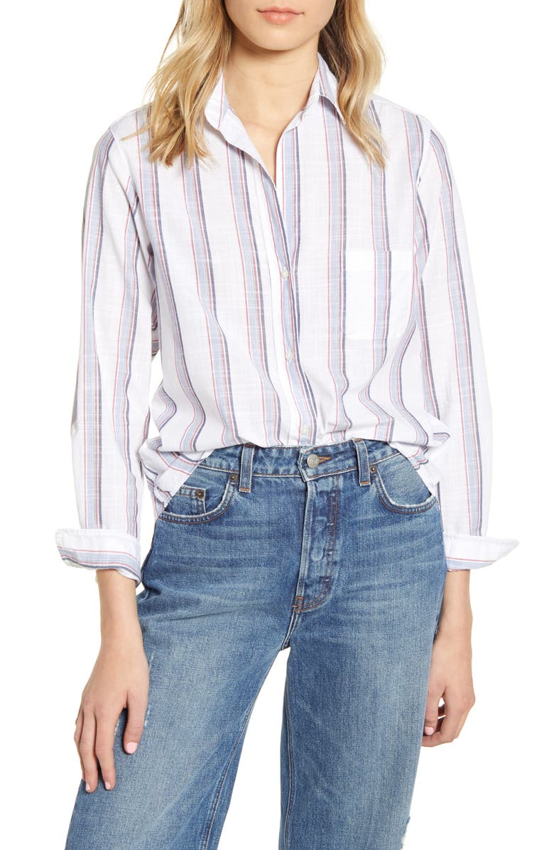GRAYSON The Hero Stripe Washed Cotton Shirt, Main, color, IDA WHITE BLUE AND RED STRIPE