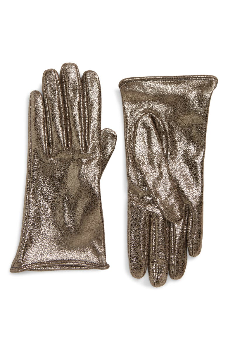 BRUNELLO CUCINELLI Metallic Leather Gloves, Main, color, SILVER