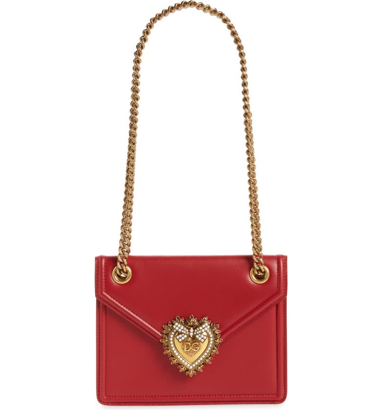 DOLCE&GABBANA Small Devotion Leather Shoulder Bag, Main, color, POPPY RED