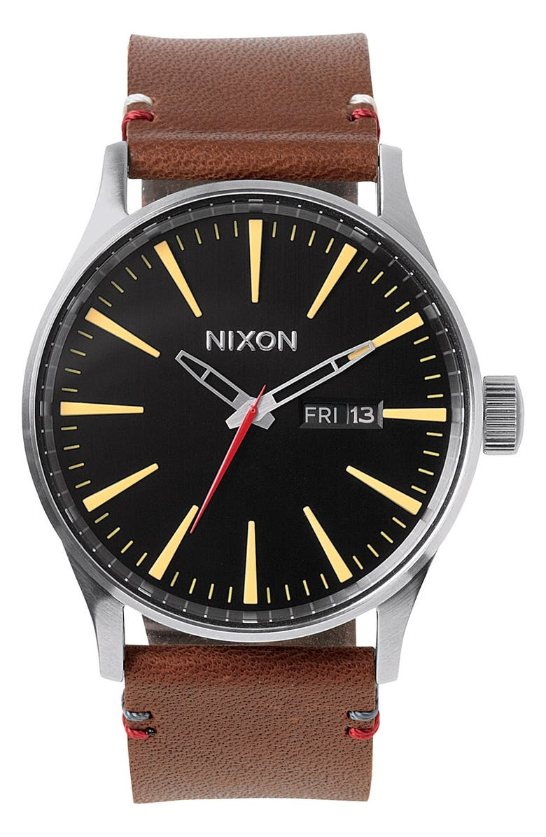 NIXON The Sentry Leather Strap Watch, 42mm, Main, color, BROWN/ BLACK