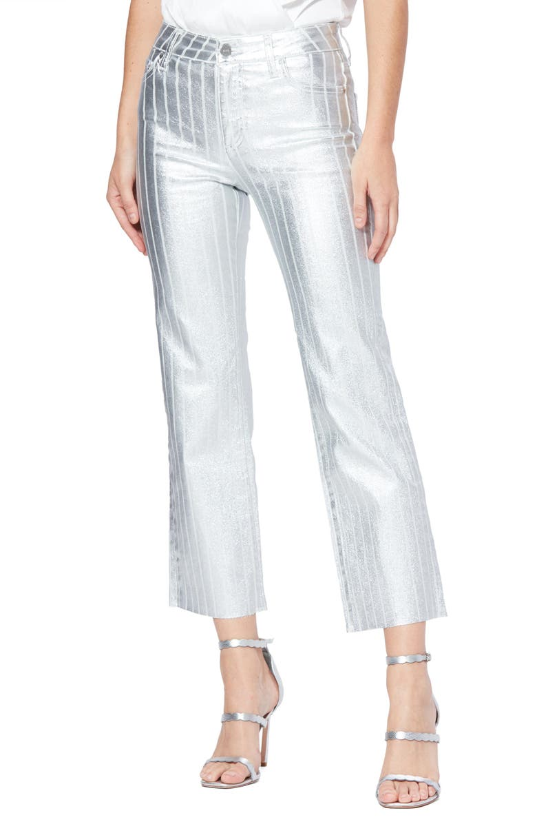 PAIGE Atley High Waist Raw Hem Ankle Flare Jeans, Main, color, SILVER COATED STRIPE