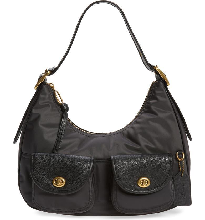 COACH Nylon Cargo Hobo Bag, Main, color, BLACK