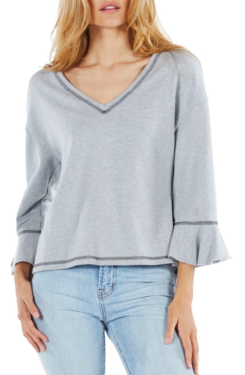 MICHAEL STARS Ruffle Sleeve Reversible Sweatshirt, Main, color, 036