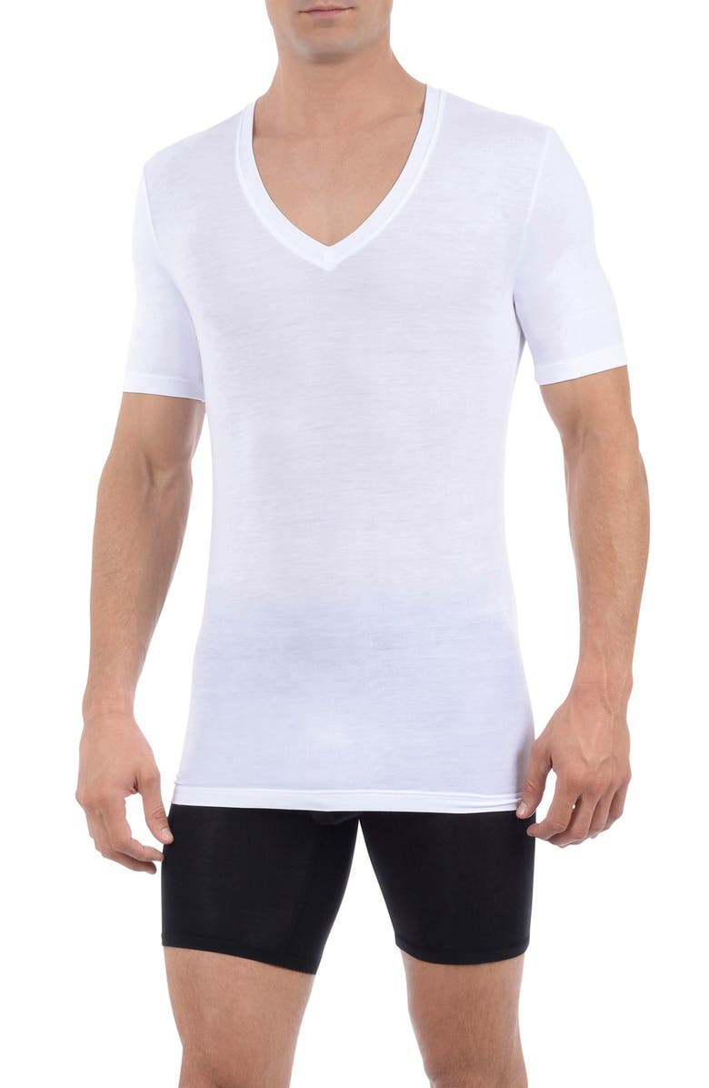 TOMMY JOHN Second Skin Micromodal Deep V-Neck Undershirt, Main, color, WHITE