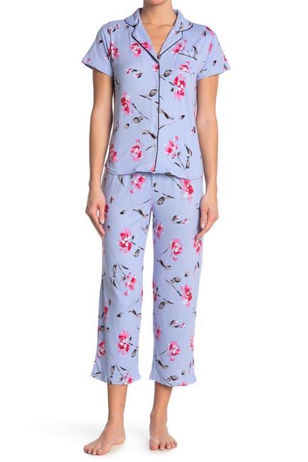 Image of PJ Couture Notchco Short Sleeve Shirt & Capris 2-Piece Pajama Set