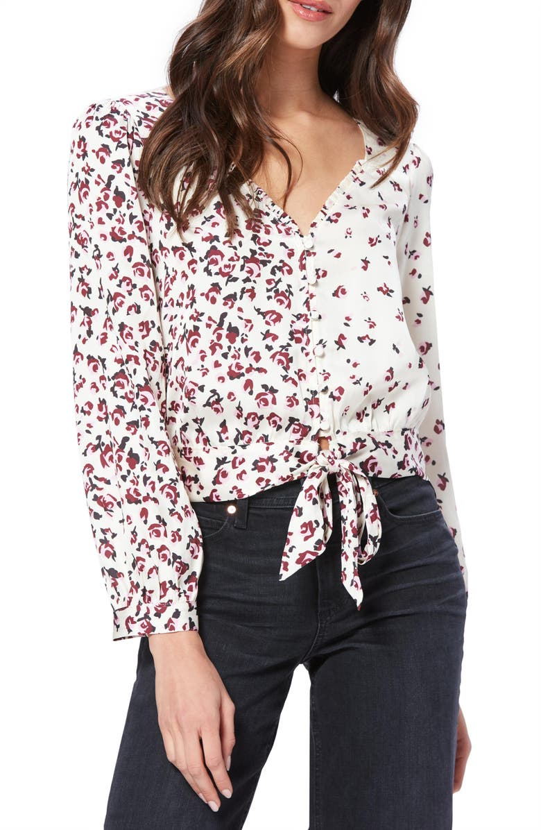 PAIGE Isadora Mixed Floral Tie Front Blouse, Main, color, GARDENIA/ FRAGRANT ROSE