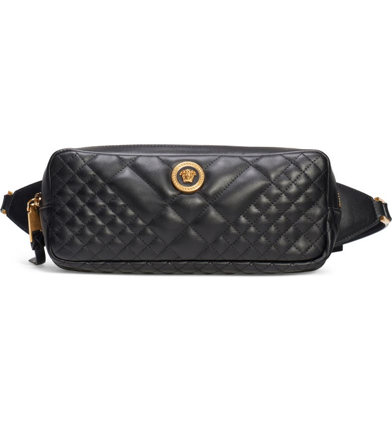 VERSACE Icon Quilted Leather Belt Bag, Main, color, NERO