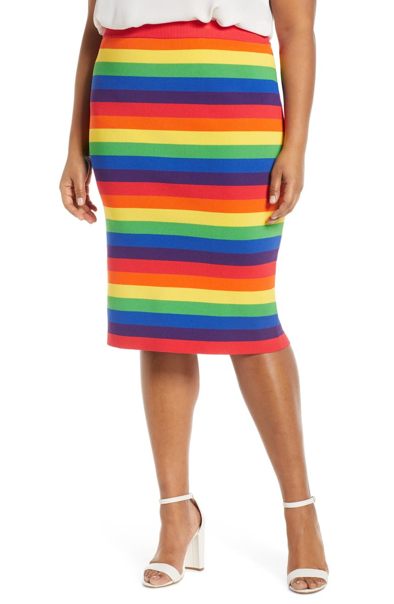 MICHAEL MICHAEL KORS Rainbow Stripe Pencil Skirt, Main, color, 100