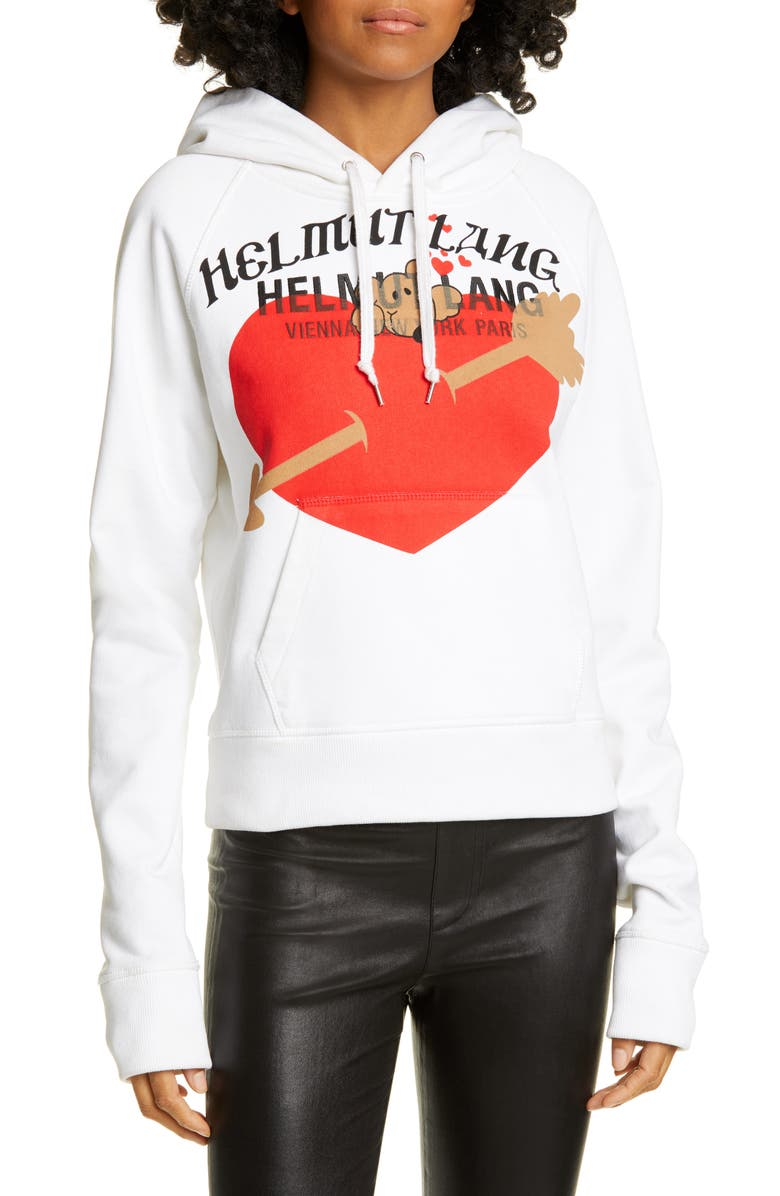 HELMUT LANG Standard Graphic Pup Heart Hoodie, Main, color, CHALK WHITE
