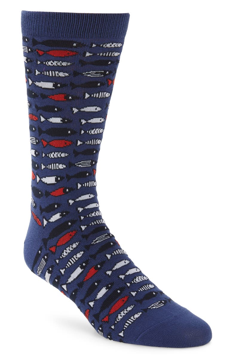 1901 School of Fish Socks, Main, color, BLUE/ RED