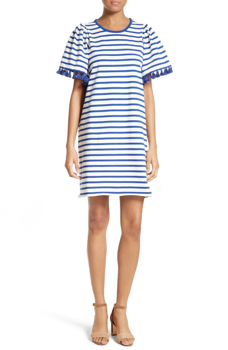 KATE SPADE NEW YORK stripe flutter sleeve dress, Main, color, 137