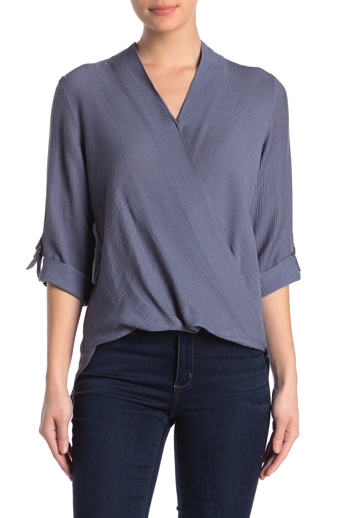 Image of MELLODAY Textured Wrap High/Low Blouse