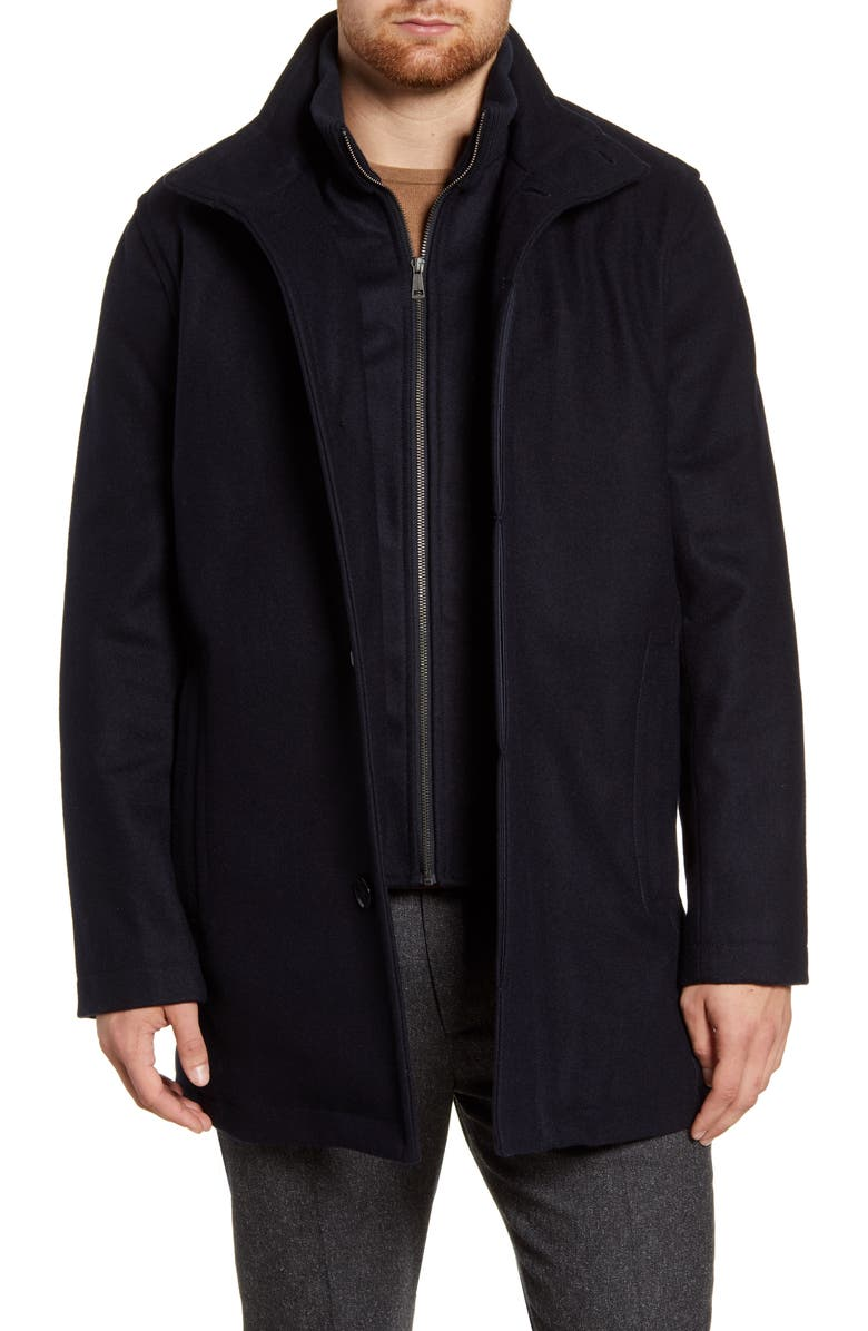 COLE HAAN Melton Wool Blend Coat, Main, color, NAVY