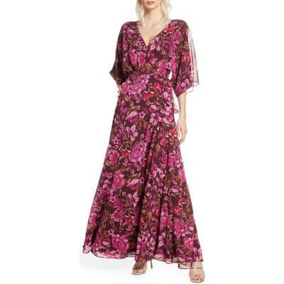 Fame And Partners The Jagger Floral Wrap Gown, Red