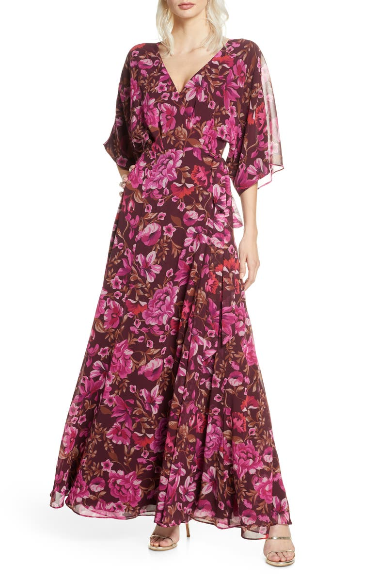 FAME AND PARTNERS The Jagger Floral Wrap Gown, Main, color, VERSAILLES WINE