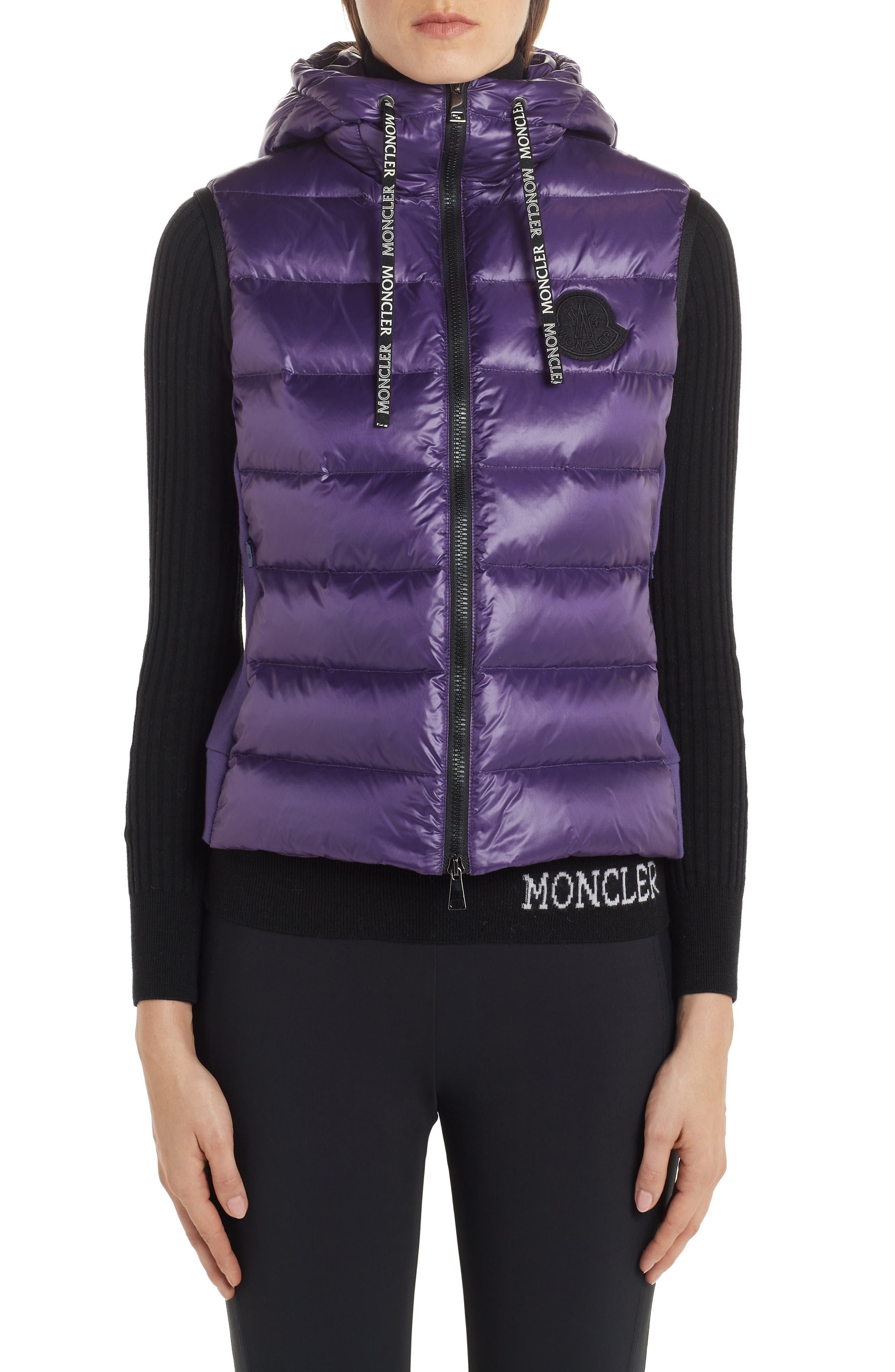 Moncler Ghany Water Resistant Shiny Nylon Down Puffer Vest, Pink